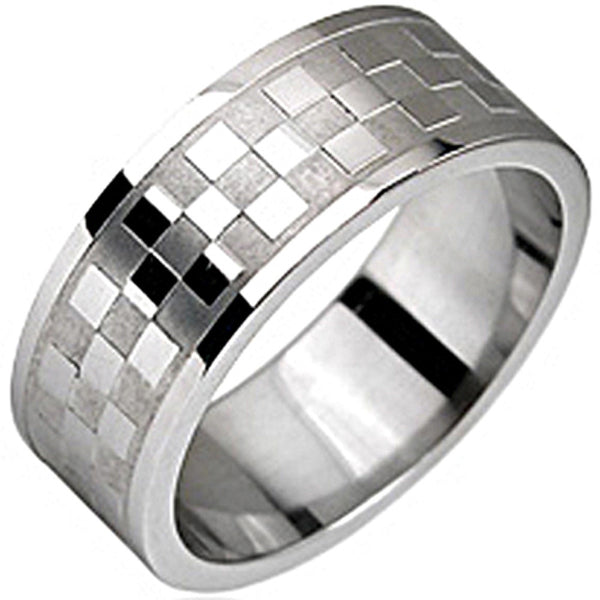 SPIKES 316L Stainless Checker Pattern Ring