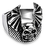 SPIKES 316L Stainless Steel Skull Bat Wing Ring
