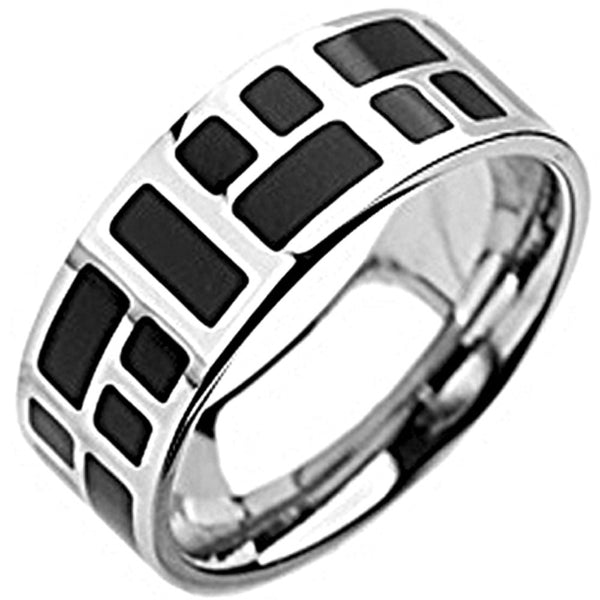 SPIKES 316L Stainless Steel Black Mosaic Ring
