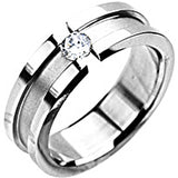 SPIKES 316L Stainless Steel Center of Attention CZ Ring