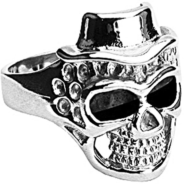 SPIKES 316L Stainless Steel Death to Impress Skull Ring