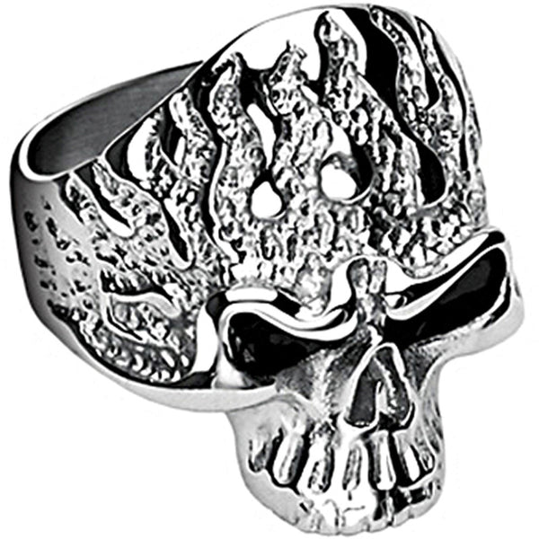 SPIKES 316L Stainless Steel Killer Flames Skull Ring
