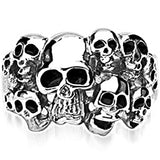 SPIKES 316L Stainless Steel A Head of the Game Skull Ring