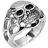 SPIKES 316L Stainless Steel To Hell and Back Skull Ring