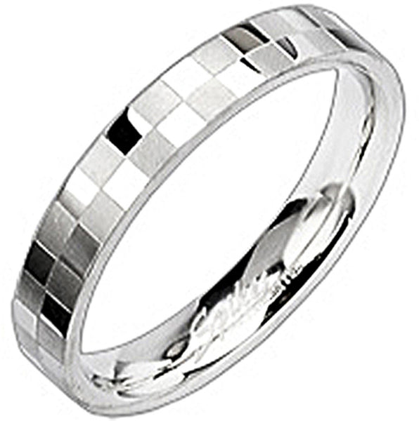 SPIKES 316L Stainless Steel Checked In Ring