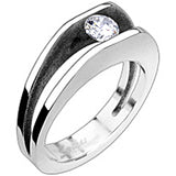 SPIKES 316L Stainless Steel Clamp Cubic Zirconia Ring