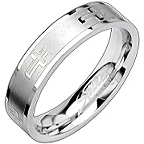 SPIKES 316L Stainless Steel Cross Your Heart Ring