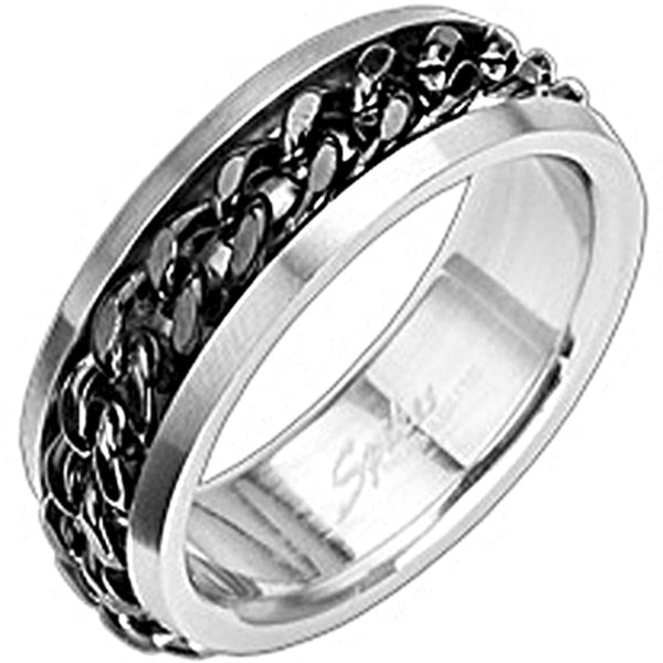 SPIKES 316L Stainless Steel Chained Up Ring