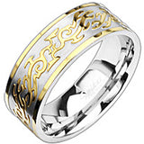 SPIKES 316L Stainless Steel Gold Rush Tribal Ring