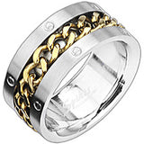 Spikes 316L Stainless Steel Eye On The Gold Chain Ring