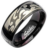 Stainless Steel Black Magic Tribal Ring