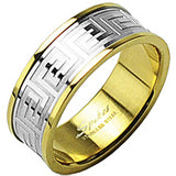 PIKES 316L Stainless Steel IP Gold You A Maze Me Ring