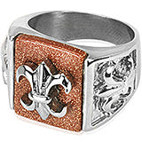 SPIKES 316L Stainless Steel Le Fleur De Lis Ring