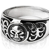 SPIKES 316L Stainless Steel Skull and Tones Ring