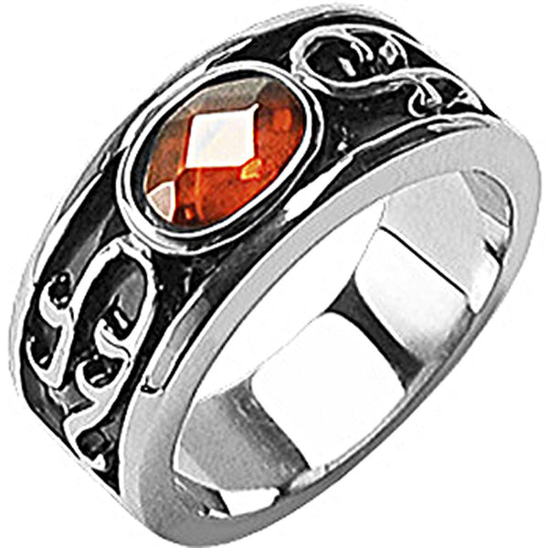 SPIKES 316L Stainless Steel IP Black Flaming Ember Ring