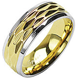 SPIKES 316L Stainless Steel IP Gold Living On The Edge Ring