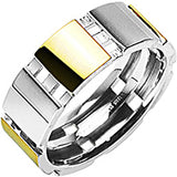 SPIKES 316L Stainless Steel IP Gold Abstract Ring