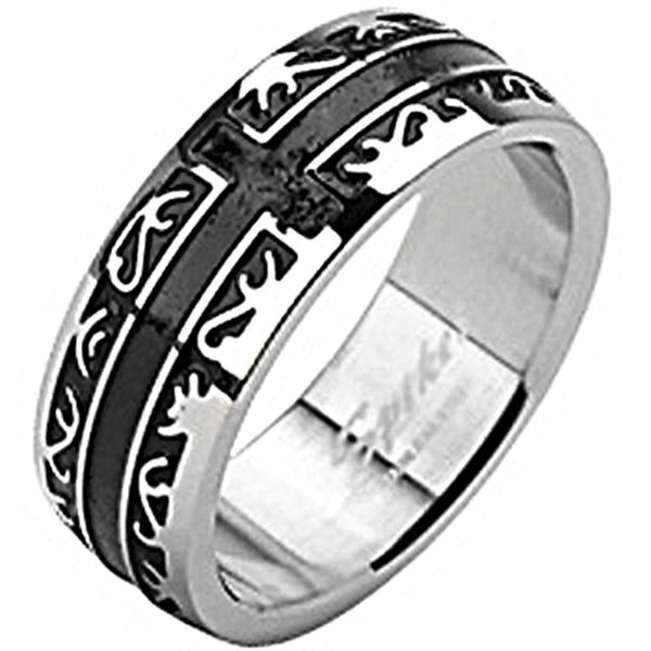 SPIKES 316L IP Black Tribal Affinity Cross Ring