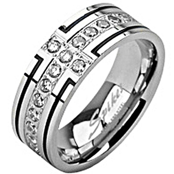 SPIKES 316L Stainless Steel Gem Paved Cross Ring
