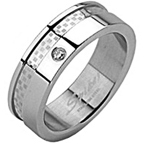 SPIKES 316L Stainless Steel Double Layered Dexter CZ MENS Ring