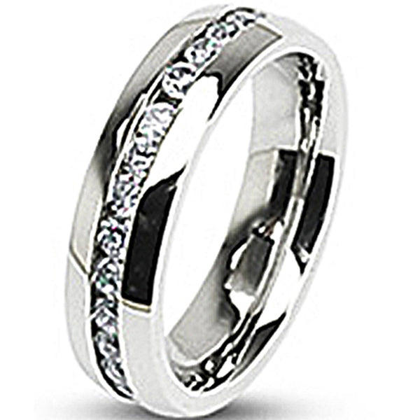 SPIKES 316L Stainless Steel Eternity Clear Gems MEN'S Ring