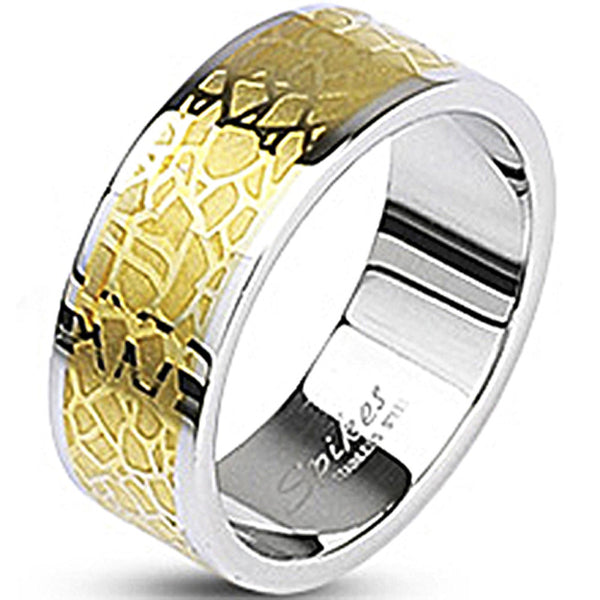 SPIKES 316L Stainless Steel Gold IP Lounge Lizard MEN'S Ring