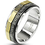 SPIKES 316L Stainless Steel Black and Gold IP Maze Me Spinner MEN'S Ring