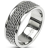 SPIKES 316L Stainless Steel Chain Links Ring