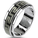 SPIKES 316L Stainless Steel Black IP Maze Spinner Ring