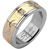 SPIKES 316L Stainless Steel Tribal Carve Single CZ WOMEN'S Ring
