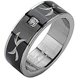 SPIKES 316L Stainless Steel Tribal Carve Single CZ MEN'S Ring