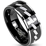 SPIKES 316L Stainless Steel Black IP Two Tone Zag WOMEN'S Ring