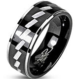 SPIKES 316L Stainless Steel Black IP Two Tone Zag MEN'S Ring