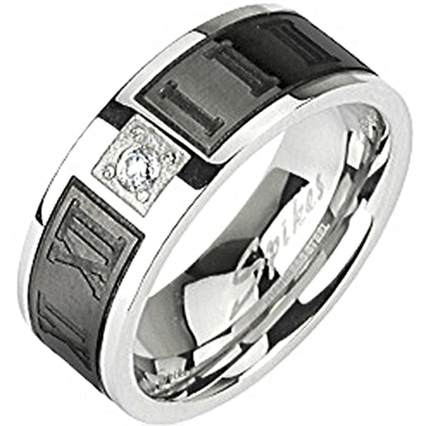 SPIKES 316L Stainless Steel Black IP Engraved Roman Numeral CZ Center Ring