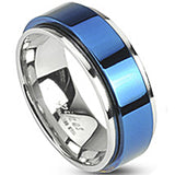 SPIKES 316L Stainless Steel Electric Blue IP Spinning Center WOMEN'S Ring