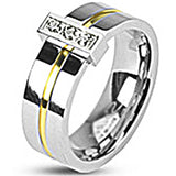 SPIKES 316L Stainless Steel Gold IP Stripe Lost Treasure CZ WOMEN'S Ring