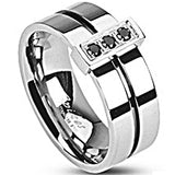 SPIKES 316L Stainless Steel Black IP Stripe Lost Treasure CZ MEN'S Ring