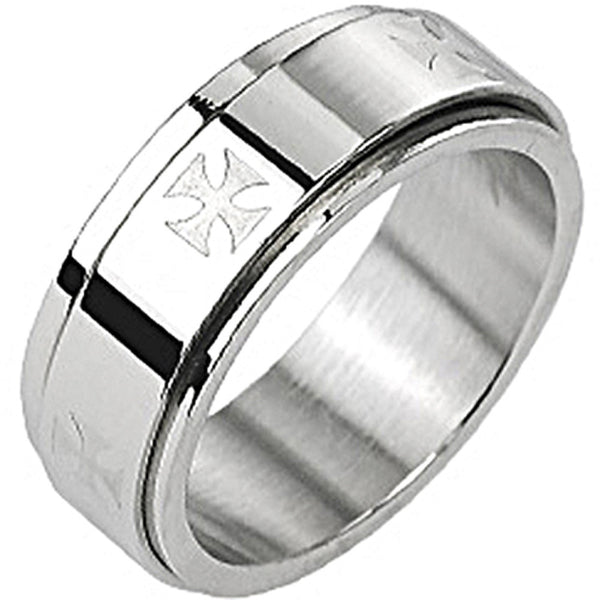 SPIKES 316L Stainless Steel Iron Cross Spinner Ring