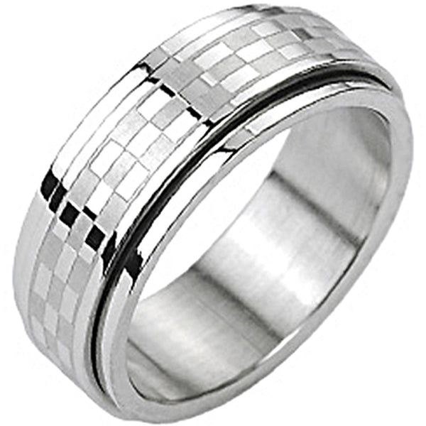 SPIKES 316L Stainless Steel Checkered Center Spinner Ring