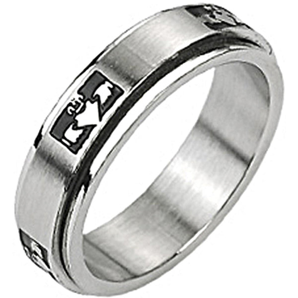 SPIKES 316L Stainless Steel Claddagh Spinner Ring