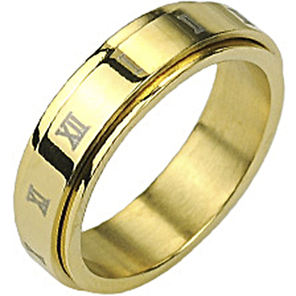 SPIKES 316L Stainless Steel Gold IP Roman Numerals Center Spinner Ring