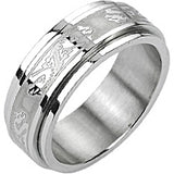 SPIKES 316L Stainless Steel Double Dragon Center Spinner Ring