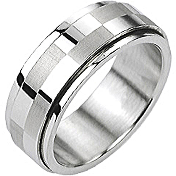 SPIKES 316L Stainless Steel Big Checker Center Spinner Ring
