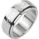 SPIKES 316L Stainless Steel Tribe Maze Center Spinner Ring
