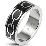 SPIKES 316L Stainless Steel Black Enamel Love Links WOMEN'S Ring