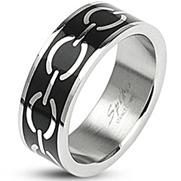 SPIKES 316L Stainless Steel Black Enamel Love Links MEN'S Ring