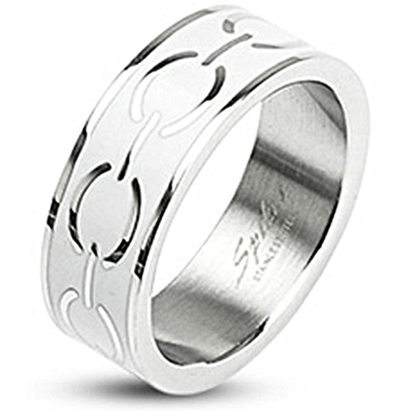 SPIKES 316L Stainless Steel  White Enamel Love Links WOMEN'S Ring