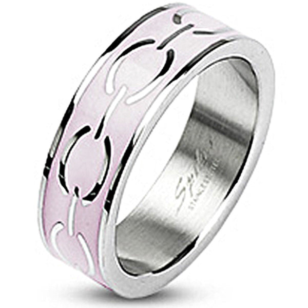 SPIKES 316L Stainless Steel Pink Enamel Love Links Ring