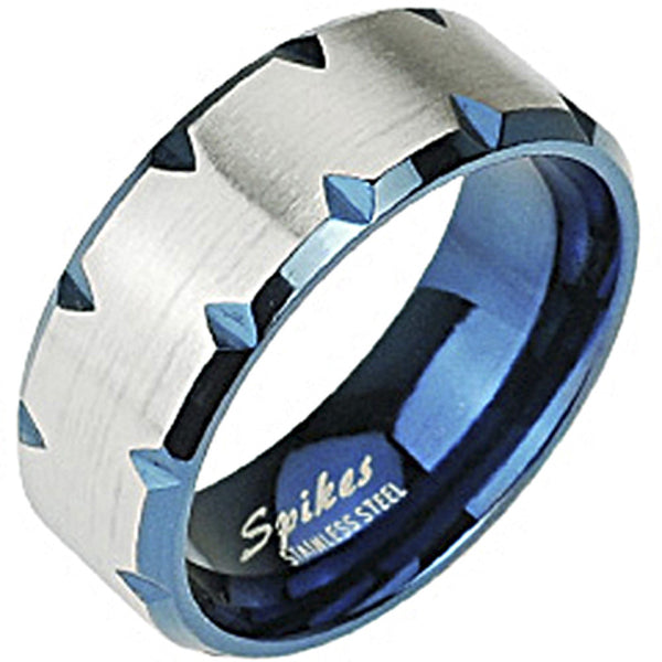 SPIKES 316L Stainless Steel Blue IP Faceted Edge Ring