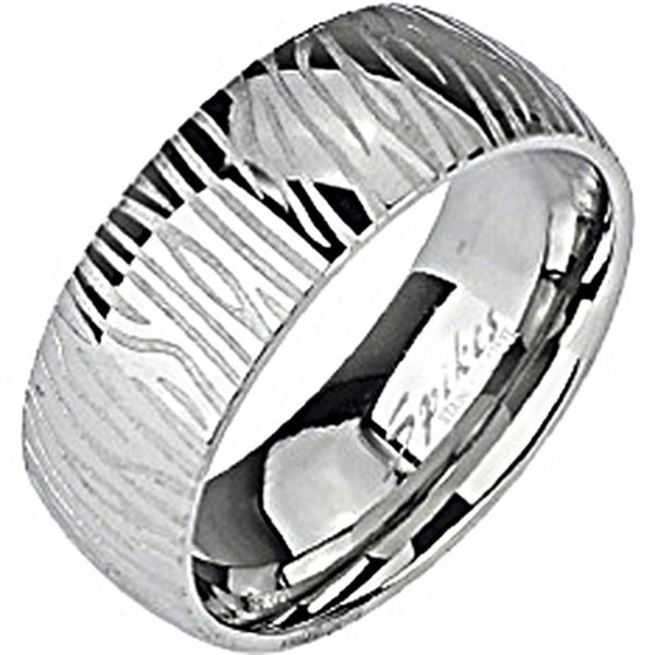SPIKES 316L Stainless Steel Zebra Print WOMEN'S Ring
